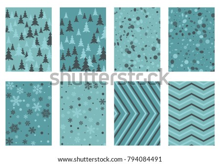 Winter poster backgrounds with fir tree forest, circle and snowflakes isolated confetti explosion, halftone stripes. Flyer, banner, poster, card backgrounds, winter elements in blue, turquoise, grey.