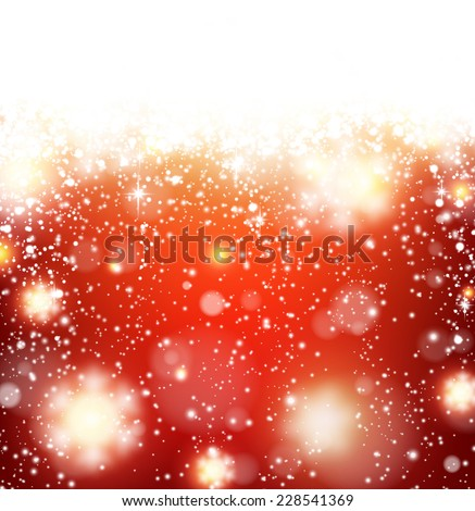Winter red background. Fallen defocused snowflakes. Christmas. Vector.   - stock vector