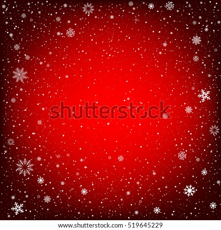 Winter red background with snow. Christmas and New Year backdrop