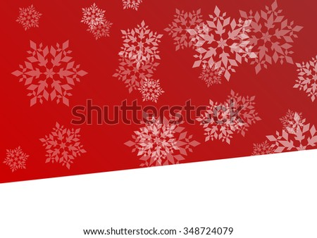 Winter red background with snowflakes vector abstract illustration concept with white space - stock vector