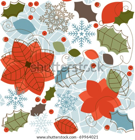 Winter retro seamless pattern