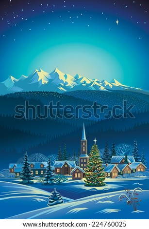Winter rural holiday landscape. Christmas. - stock vector