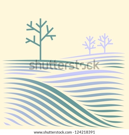 winter rural landscape with fields and tree - stock vector