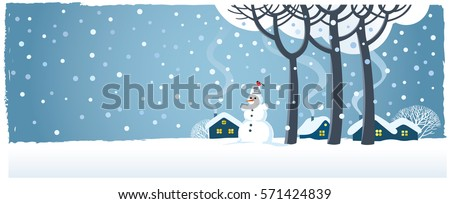 Winter rural landscape with snowman and houses.