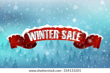 Winter sale background with red realistic ribbon banner and snow. vector - stock vector