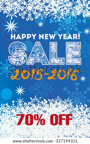Winter sale backgrounds. New year vector illustration.  - stock vector