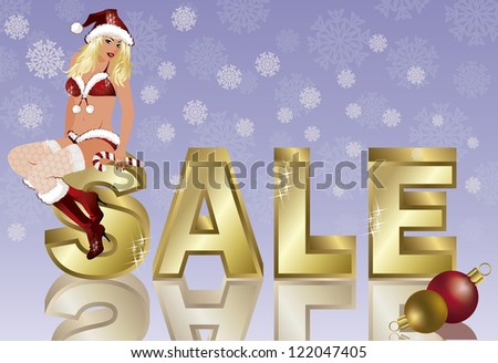 Winter sale banner with xmas girl, vector illustration - stock vector