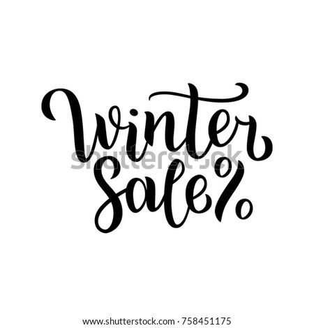 Winter sale hand written inscription with blue snowflakes on white background