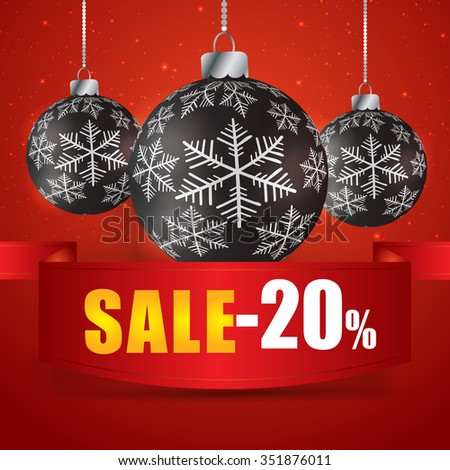 Winter sale 20 percent. Winter sale with red background. Sale. Winter sale. Christmas sale. New year sale. Vector illustration