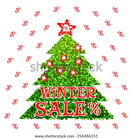 Winter Sale Percentage Discount Flyer Vector Illustration. Green Glitter Christmas Tree with Stars and Red Percentage Sale Sign on White Backdrop. Market Shop Stock Clearance vector Banner.  - stock vector