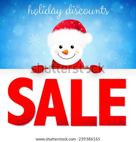 Winter Sale Poster With Gradient Mesh, Vector Illustration - stock vector
