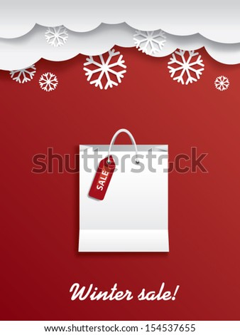 Winter sale shopping bag with sticker and space for text - stock vector