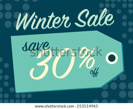 Winter sale sign tag with 30% off original price - stock vector