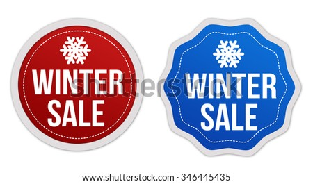 Winter sale stickers set on white background, vector illustration - stock vector