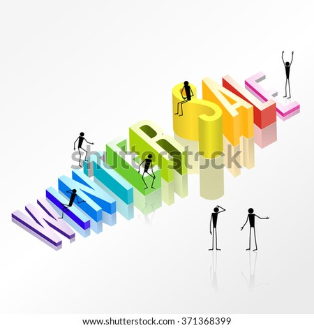 Winter sale vector 3d concept and People silhouettes emotion gestures. 3D winter SALE rainbow words with reflections on white background 3d. Stairs of letters - stock vector