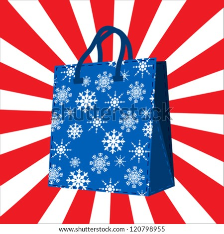 Winter sales shopping  bag with snowflakes silhouettes design