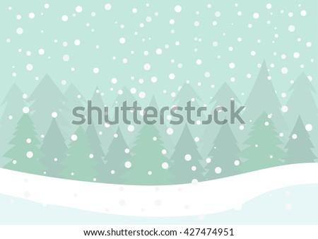 Winter scene - Falling snow with white snow and pine forest background, falling snow and snowflake, Christmas background, Fir forest background.