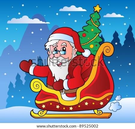 Winter scene with Christmas theme 3 - vector illustration. - stock vector