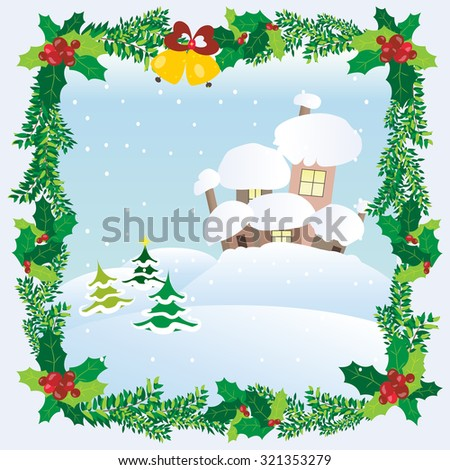 Winter scene with city with glowing windows snowdrifts christmas tree and snowflakes in beautiful frame of pine branches and mistletoe - stock vector