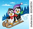 Winter scene with penguins sledging - vector illustration. - stock photo