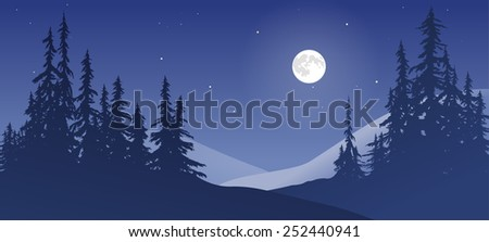 Winter scene with snow and moon. - stock vector
