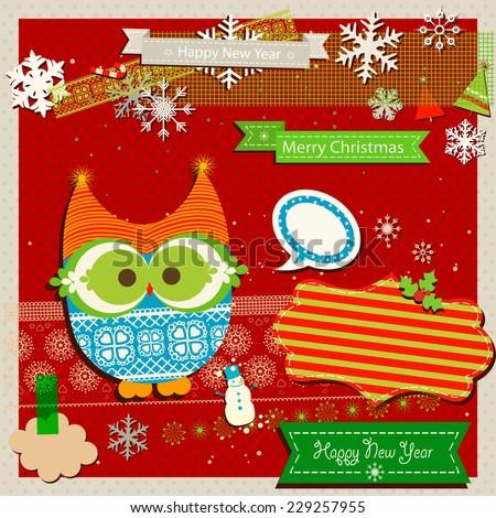 winter scrapbook template with cute owl - stock vector