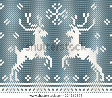 Winter seamless background with knitted deers - stock vector