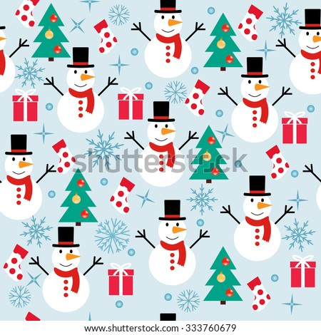 winter seamless ornament pattern snowman gifts Christmas tree with decorations background with snowflakes and snow - vector illustration - stock vector