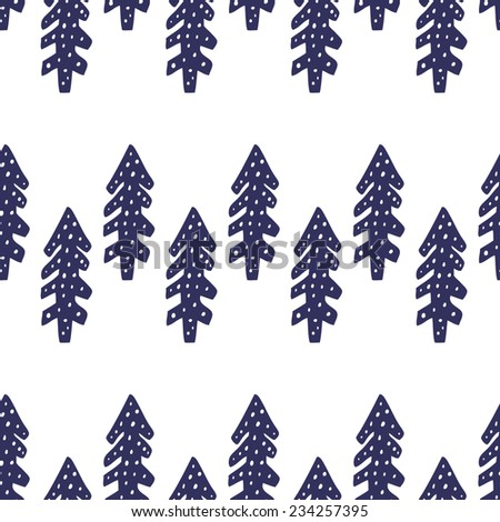 Winter seamless pattern with fir-tree in vector. Christmas background. - stock vector