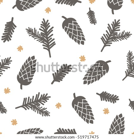 Winter seamless pattern with pinecones, snowflakes and Christmas tree branches in brown and yellow on white background.