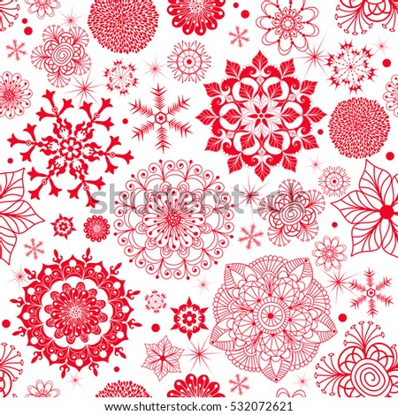 Winter seamless pattern with red monochrome snowflakes and stars, without background, vector