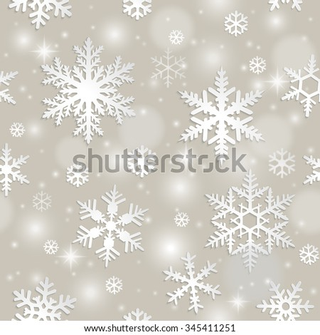 Winter seamless pattern with snowflakes on grey background - stock vector