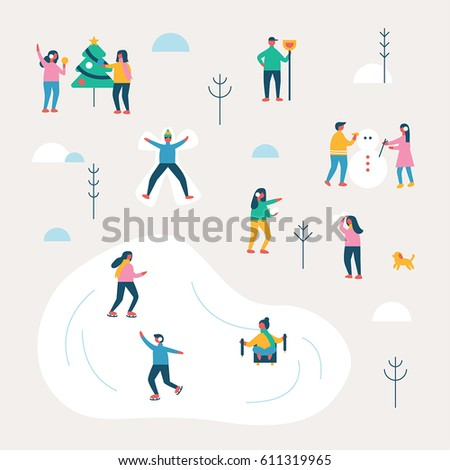 winter season background people character vector illustration flat design