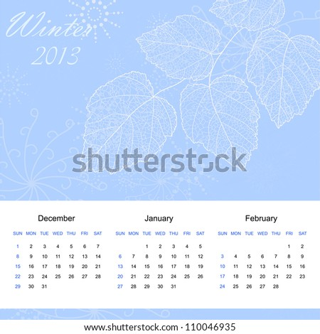 Winter season calendar page of new 2013 year with background an text (vector eps 10) - stock vector