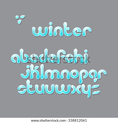 winter season, cartoon style alphabet letters. Christmas, snowy font type isolated on gray background. vector festive text design  - stock vector