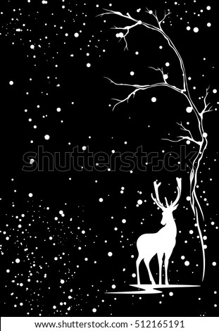 winter season vector background with white deer under snowfall against black