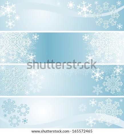Winter seasonal Banners in blue. - stock vector