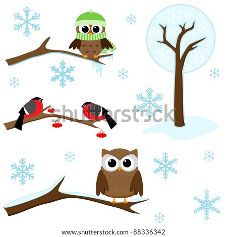 Winter set -  birds on branches, tree and snowflakes - stock vector