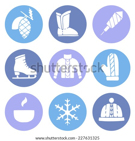 Winter set. Winter theme flat round icons.  - stock vector