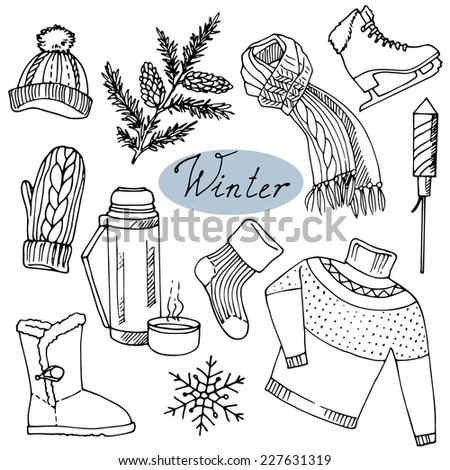 Winter set. Winter theme items. Hand drawn design elements.  - stock vector