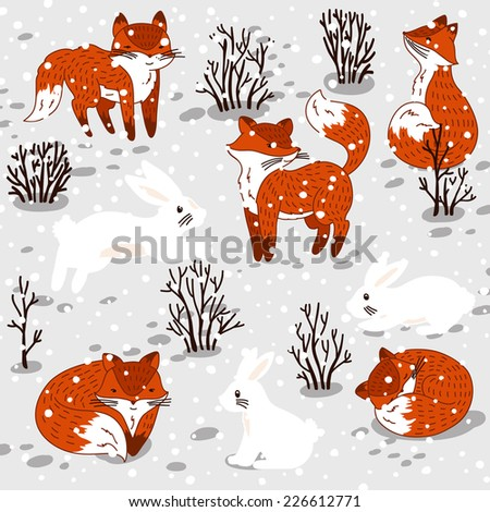Winter set with cute foxes and bunny. Vector illustration - stock vector