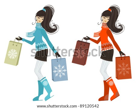 Winter shopping girl - stock vector