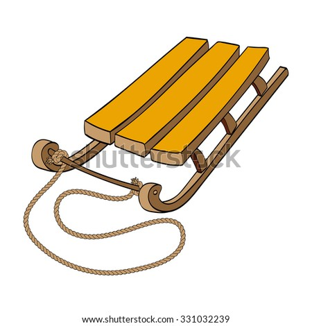 Winter. Sled. Hand-drawn vector Illustration isolated on white background - stock vector