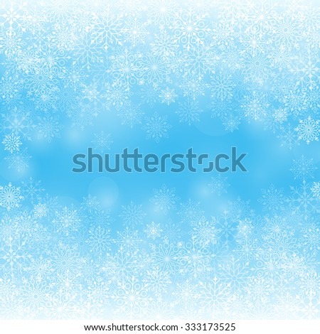 Winter Snow Background with Different Snowflakes. Vector Illustration  - stock vector
