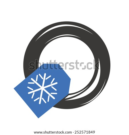 Winter snow car tire - stock vector