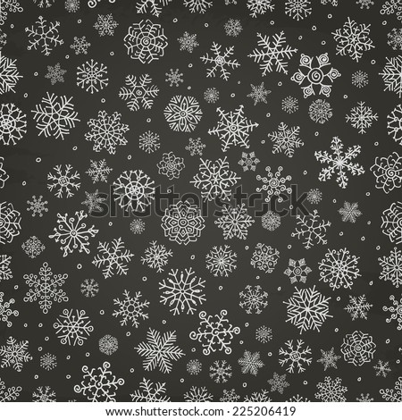 Winter Snow Flakes Doodles. Seamless Background Pattern on Chalkboard Texture. Hand-Drawn Vector Illustration. Pattern Swatch - stock vector