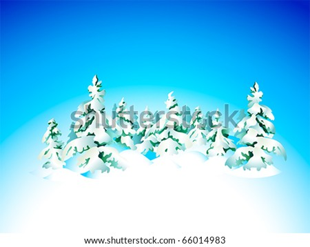 Winter snow forest background for Christmas card - stock vector