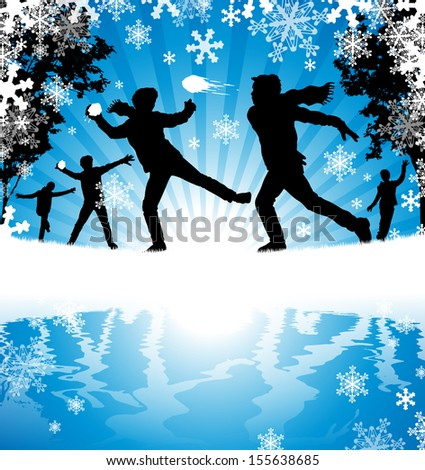 Winter Snowball Fight. Illustration of a group of Boys enjoying a snowball fight in a downfall of snow.  - stock vector
