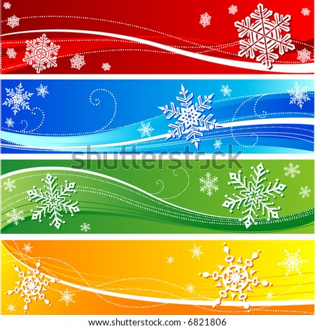winter snowflake banners - stock vector