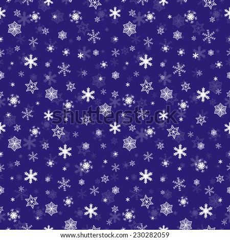 Winter snowflake falling seamless pattern - three separated layers snowflakes, transparent snowflakes and background - stock vector